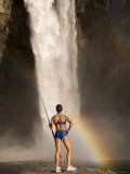 Woman Standing on a Rock and Holding a Javelin  Snoqualmie Falls  Washington State  USA