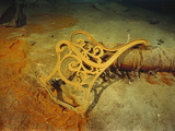 "Metal Deck Bench Frame of the RMS ""Titanic"" Seen Amid Wreckage on Ocean Floor"