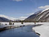A Sunny Winter Scene in the Swiss Alps