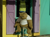 Stuffed Bear Chained to a Door of Colorful Caribbean Building