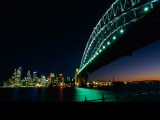 A View Across Sydney Harbour of the Brightly-Lit Harbour Bridge and the Citys Skyline