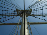 Looking up at the Top of the Mast of an Old Wooden Tall Ship