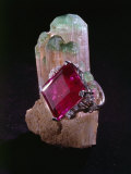 Tourmaline Resting on a Crystal