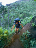 A Hiker Climbs a Steep Part of the Kalalau Trail
