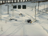 Overhead View of Buried Cars on an Interstate Highway after a Severe Five-Day Snow Storm
