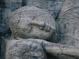 The Head of a Forty-Four-Foot-Long Granite Statue of a Reclining Buddha Entering Nirvana