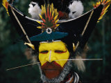 A Portrait of a Huli Wigman During the Annual Sing-Sing Dance