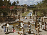 A University of Miami Art Class Paints Near a Fountain
