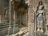 Ornate Carvings and Sculptures of Buddhist Deities Adorn the Outside of a Buddhist Temple