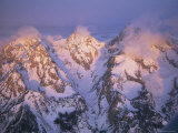 Clouds Rise from the Peaks of Three Mountains in the Teton Range