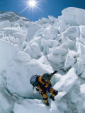 A Female Climber Descends the Khumbu Icefall