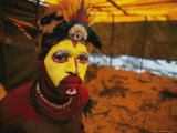 A Huli Tribesman Readys for the Annual Sing-Sing Held in Goroka