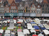 Elevated View of the Market Square in Bruges