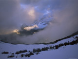 Snow and Clouds Fill the Valley at the Garden Wall in Logan Pass