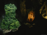 Two Men Explore a Fluvial Cave in a Mogote