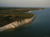Aerial of White Chalk Cliffs Along the Coast of Southeastern England