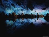 Reed Flute Cave Illuminated in Blue Light