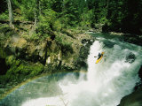 Woman Running a Big Waterfall on the White Salmon River