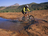 Cyclist Going Through Puddle  Arizona