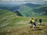 Hikers on a Trail High Atop Mount Snowdon
