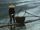 Cormorant Fisherman on Bamboo Raft  Li River  Guilin  Guangxi  China