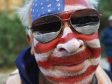 An American Flag is Painted on Mans Face in Arizona