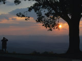Sunset and Silhouetted Oak and Person over the Shenandoah Valley  Dickeys Ridge Visitors Center