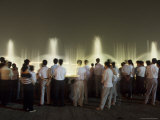 Chinese People Watching a Lighted Musical Water Fountain at Night