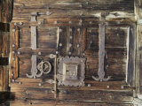 Detail of Old Lock and Hinges on Old Wood
