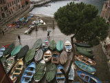 An Elevated View of Boats Stored on a Plaza During a Rain Shower