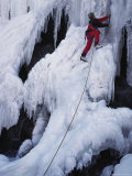 An Ice Climber on Habeggers Falls in the Sierra Nevada Mountains