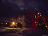 Night View of a Snow-Covered Home and Yard with a Christmas Tree