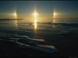 Solar Phenomena in the Sky is Reflected on Ice-Covered Hudson Bay