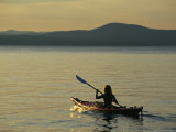 Woman Kayaking on Sebago Lake