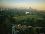 Aerial View of Chicagos Jackson Park and Golden Lady Sculpture