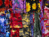 Colorful Fabric Hangs in the Laycaya Marketplace