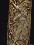 A Close View of a Syrian Ivory-Carved Panel Dating from 750 BC