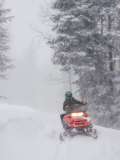 A Woman Speeds Along on a Snowmobile in a Blizzard