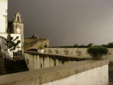Rain and Sun Play on Castle Walls in Lisbon