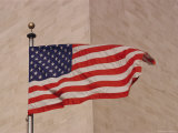 A View of an American Flag at the Corner of the Washington Monument