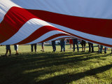Boy Scouts Lift a Huge American Flag at the Clay County Fair