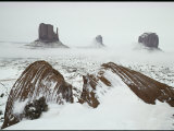 Light Snow and Ground Fog Shroud the Famous Mitten Buttes