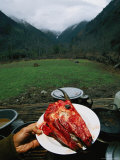 A Meal of Goat Head is Served for Lunch in the Mountains