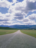 A Country Road and Cumulus Clouds in the Cuyama Valley