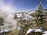 A Geothermal Area Steams in the Winter Sunlight