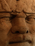 Close View of a Colossal Stone Head Carved by the Olmec