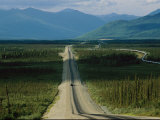 A Lone Truck Moves Down the Dalton Highway