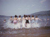 Women Splashing into Lake George