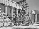 Scaffolding Used During Restoration Work on the Parthenon