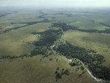 An Aerial View of a Grassland with a River Running Through It